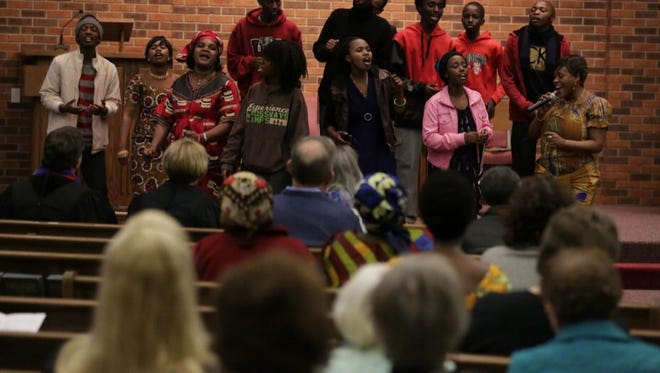 The African Fellowship of Oshkosh and the Fox Valley sing during the service.  Nine Oshkosh congregations took part in a years-long tradition by singing and worshiping together at the First United Methodist Church on Good Friday. The ministries welcomed the newly formed African Fellowship of Oshkosh and the Fox Valley.