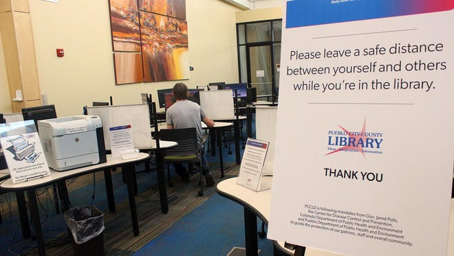 Computer use at the Pueblo West Library has been sporadic since restrictions were eased in late June ending a shutdown due to the coronavirus epidemic.