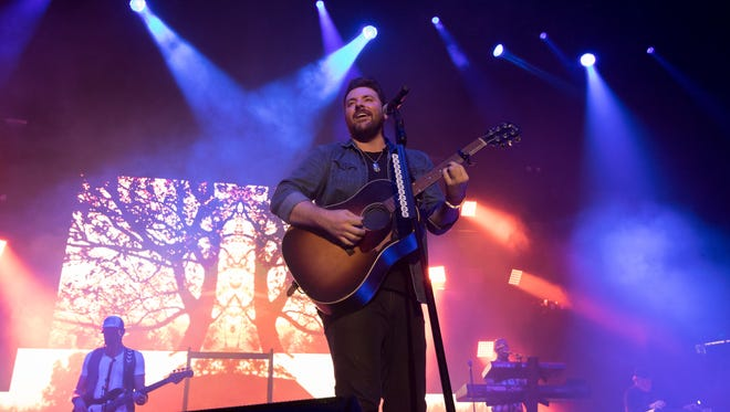 "Chris Young, at his ""I'm Comin' Over"" tour during the Chris Young/Dan + Shay/Cassasdee Pope concert held Friday night at the Pan American Center on Oct. 7, 2016."