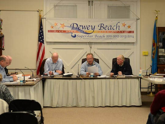 The Dewey Beach Commissioners and Mayor discuss the final draft of the town audit on Monday, March 26, 2018.
