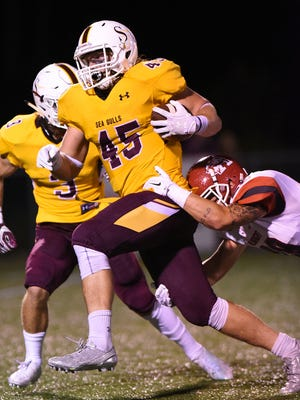 Salisbury's Connor Canonico carries for a gain against Albright College during the season opener at Sea Gull Stadium in Salisbury.
