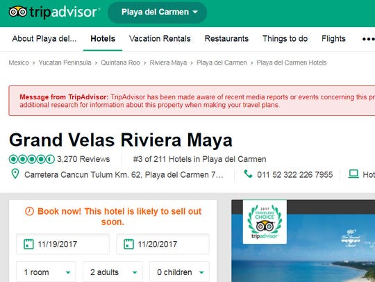 Screen view of the TripAdvisor alert.