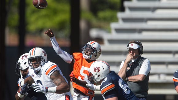 Auburn quarterback John Franklin III (5) throws a pass during Auburn's NCAA spring college football game Saturday, April 9, 2016, in Auburn, Ala. 