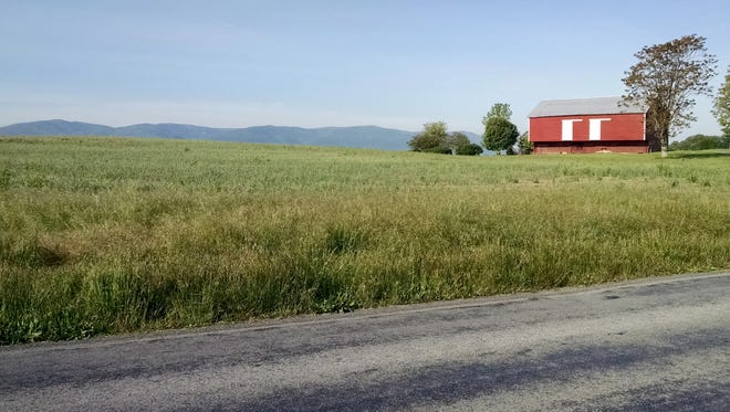 "Most days I drive a Subaru Outback from my home in Stuarts Draft to The News Leader, today for ""Bike to Work Day"" I rode my Litespeed titanium bike the 16 miles on Friday, May 20, 2016. Here's a view from Hall School Road in Stuarts Draft of the green fields and Blue Ridge Mountains."