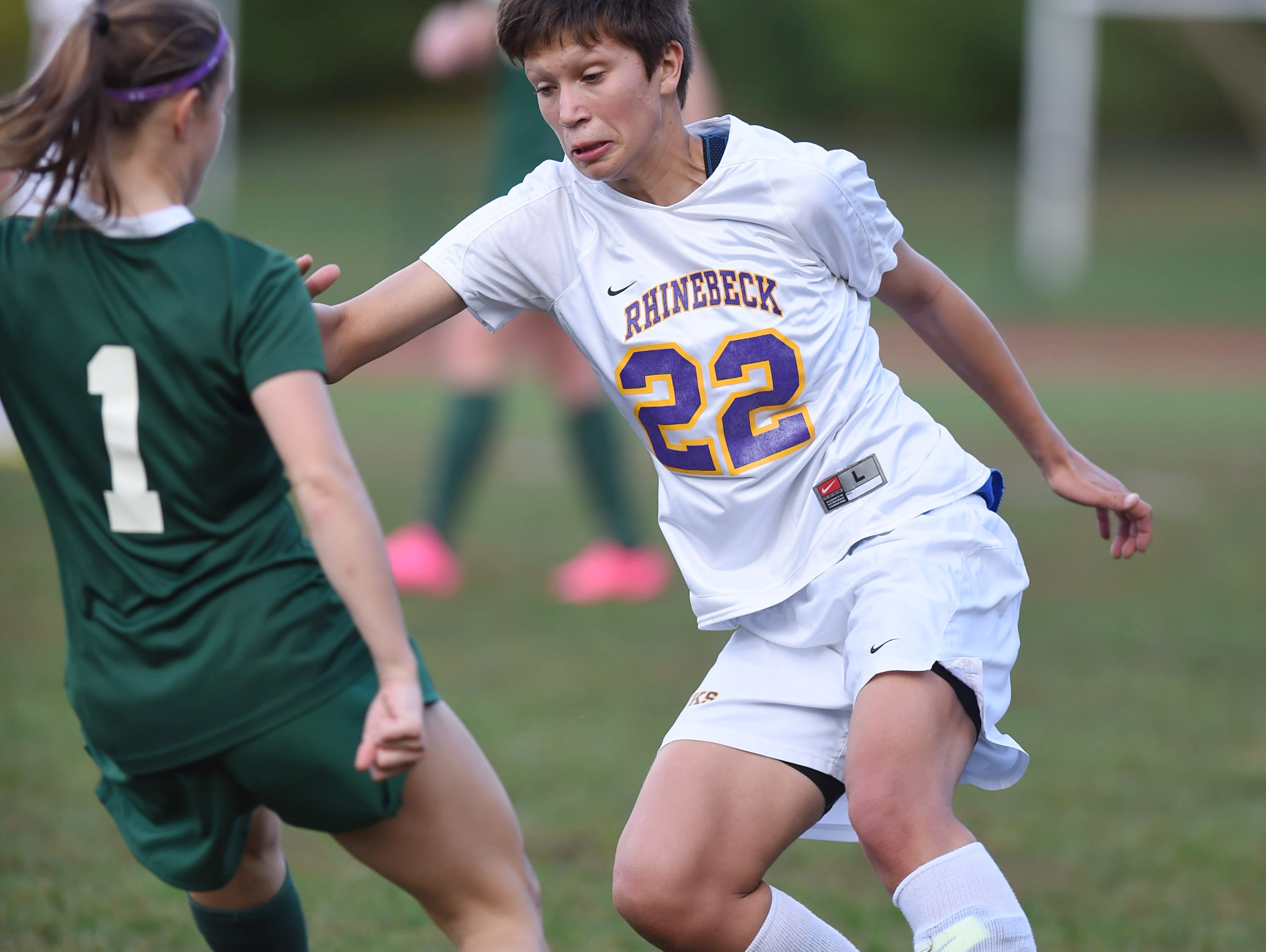 Rhinebeck High School's Michelle Giamportone makes a move on a Spackenkill defender on Wednesday.