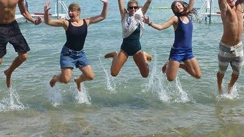 One of the many fun things to do while at Camp Daggett in the summer is to jump in the lake when at camp. Registration dates for summer camps are now open. Contributed photo