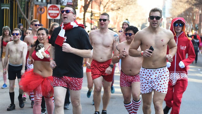 About 300 people ran in Nashville's Cupid's Undie Run on 2nd Ave North on Saturday Feb.  13, 2016. The event raises funds for the Children's Tumor Foundation.
