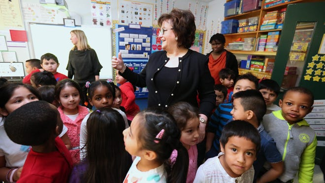State Education Commissioner MaryEllen Elia visits a kindergarten class at Kakiat Elementary School in February, during a visit to the district.