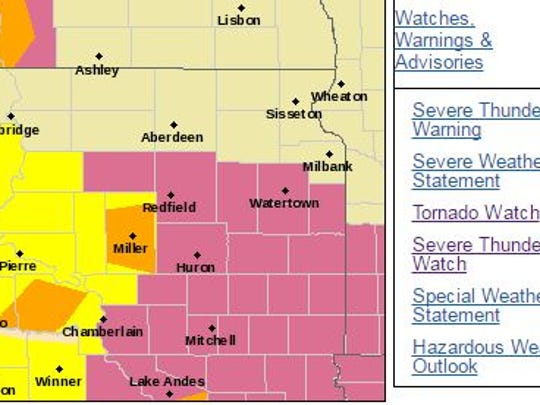 Much of South Dakota will most likely see severe weather