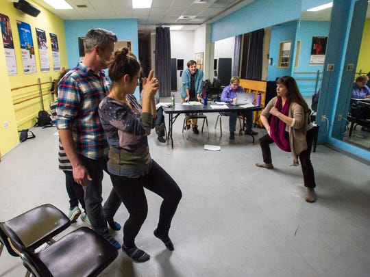 """Members of the Stealing From Work sketch comedy troupe rehearse their production of """"History Retweets Itself"""" in Burlington on Thursday, January 12, 2017."""