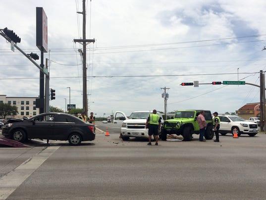 Three-vehicle crash
