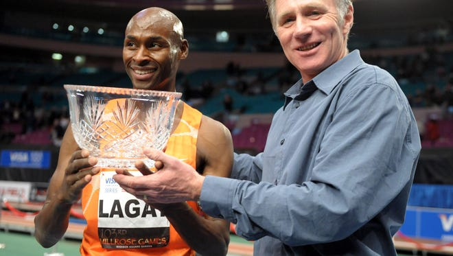 Bernard Lagat of Tucson,  left, will try for a ninth Wanamaker Mile title and to break the masters indoor world record held by Eammon Coghlan, right, on Feb. 14.
