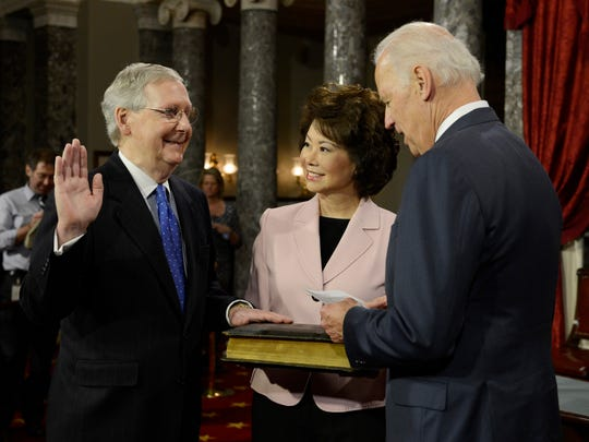 Then-Vice President Joe Biden ceremonially swore in Senate Majority Leader Mitch McConnell, R-Ky., in January 2015 following Republicans' Senate takeover.