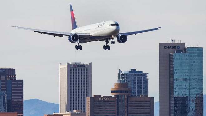 A plane approaches Phoenix Sky Harbor International Airport.