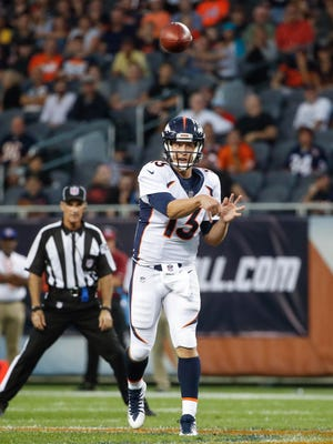 Aug 10, 2017; Chicago, IL, USA; Denver Broncos quarterback Trevor Siemian (13) passes the ball against the Chicago Bears during the first half at Soldier Field. Mandatory Credit: Kamil Krzaczynski-USA TODAY Sports