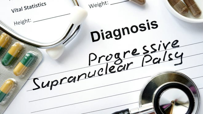 Diagnosis Progressive Supranuclear Palsy, pills and stethoscope.