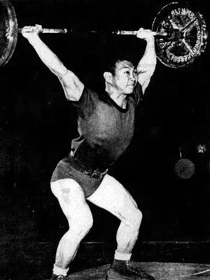 Walter Imahara was a member of the first championship weightlifting squad in 1957.