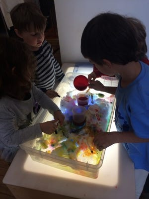 Bring snow inside and add some color for creative play.