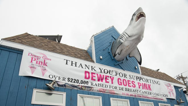 In this file photo, the banner for Dewey Goes Pink run and walk at the Starboard in Dewey Beach.