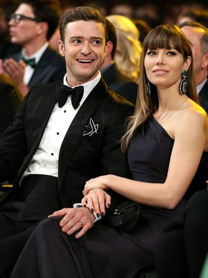 FILE - April 11, 2015: Justin Timberlake and Jessica Biel have welcomed a baby boy, who have they have named Silas Randall Timberlake. LOS ANGELES, CA - FEBRUARY 10:  Justin Timberlake and Jessica Biel attend the 55th Annual GRAMMY Awards at STAPLES Center on February 10, 2013 in Los Angeles, California.  (Photo by Christopher Polk/Getty Images for NARAS) ORG XMIT: 530818329 ORIG FILE ID: 161404707