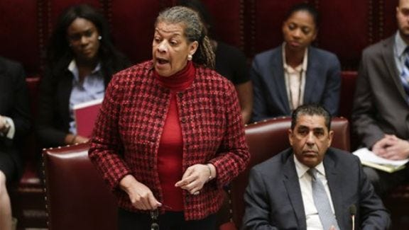 Sen. Ruth Hassell-Thompson, D-Bronx, speaks in the Senate Chamber at the Capitol on Jan. 21, 2016, in Albany.