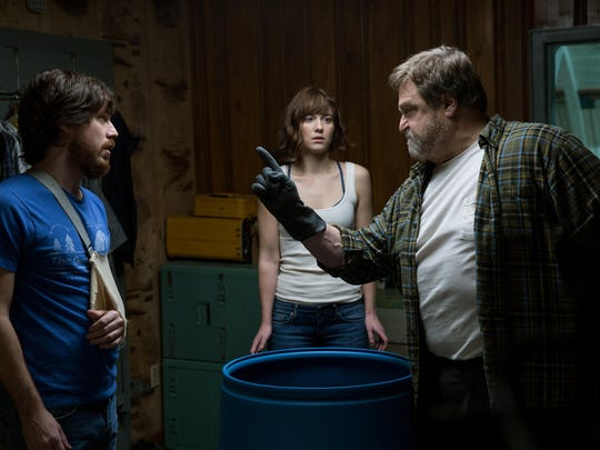 "John Goodman, Mary Elizabeth Winstead and John Gallagher Jr. in ""10 Cloverfield Lane."""