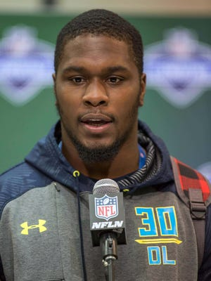Mar 4, 2017; Indianapolis, IN, USA; Former Michigan State defensive lineman Malik McDowell speaks to the media during the 2017 NFL combine at Indiana Convention Center.