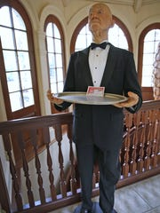 A wide variety of items for sale from 50 cents to $100,000 are being sold in the Carmel estate of technology guru Scott Jones, from Sept. 14 to Sept. 17.  This whimsical life-sized wax butler figure, seen Thursday, Aug. 31, 2017, is for sale at $525.  The sale is open to the public, first come first served.