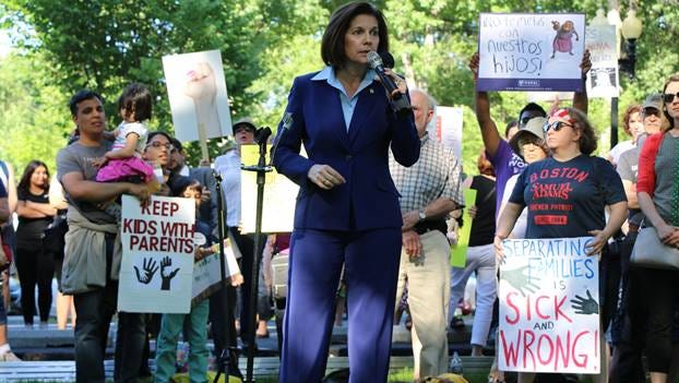 U.S. Sen. Catherine Cortez Masto, D-Nev., speaks at an anti-border separation rally in June.