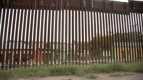 The U.S.-Mexico border fence in Nogales, Arizona.