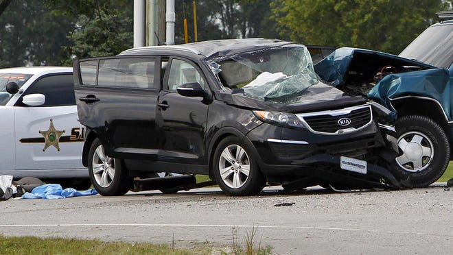 A two car collision sent two people to the hospital on U.S. 24 and White County Road 300 East on Friday, August 14, 2015.