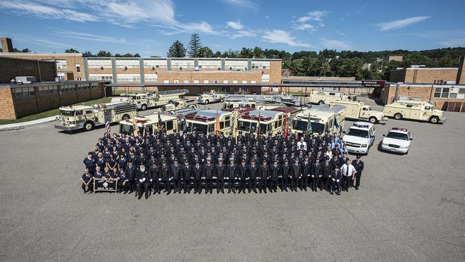 An aerial photo of the Boonton Fire Department's members and present equipment, as well as some of its past equipment, that was taken on July 24 as part of a larger project meant to mark and celebrate department's 125th anniversary.