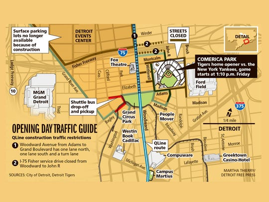 Comerica Park-area street closings and traffic guide for opening day.