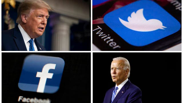 This photo combo of images shows, clockwise, from upper left: President Donald Trump speaking during a news conference at the White House on July 22 in Washington, the Twitter app, Democratic presidential candidate, former Vice President Joe Biden speaking during a campaign event on July 14 in Wilmington, Del., and the Facebook app. With just 100 days to go until Election Day, Trump and Biden aren't just attacking one another in online ads. Their ads are also targeting tech companies like Facebook and Twitter.