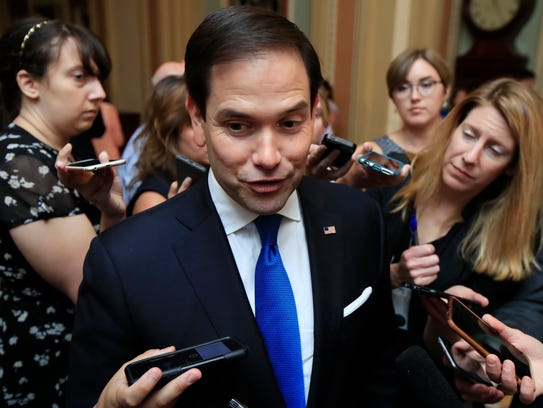 Sen. Marco Rubio, R-Fla. speaks to reporters as he