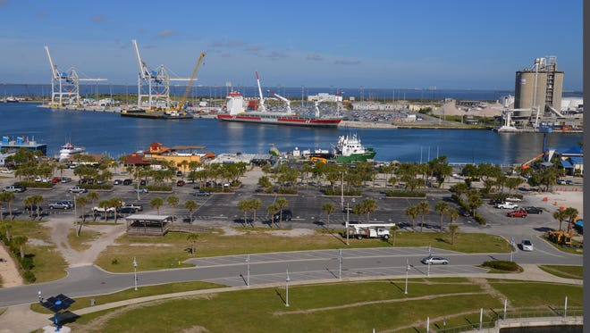 Port Canaveral's Cove area, in the foreground, and cargo area, across the channel, both could be targeted for extensive upgrades, as part of Port Canaveral's 30-year strategic master plan.