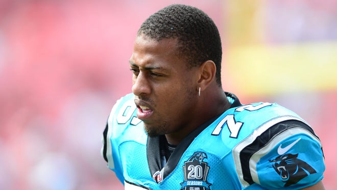 Carolina Panthers defensive end Greg Hardy (76) against the Tampa Bay Buccaneers at Raymond James Stadium.