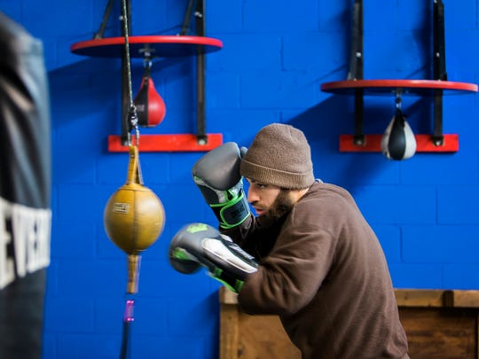 Delaware boxer Joe Tiberi Jr. trains at the Fight Factory in Wilmington on Tuesday afternoon. Tiberi Jr. will fight Bryan Timmons at the Chase Center on the Riverfront in Wilmington on February 17th.
