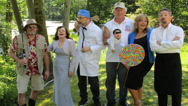 The members of the Moose Pie Sketch Comedy Group include, from left, John Carey, Bonnie Deforest, Dave Adams, Dave Merrell, Lisa Ditcher and John Montgomery.