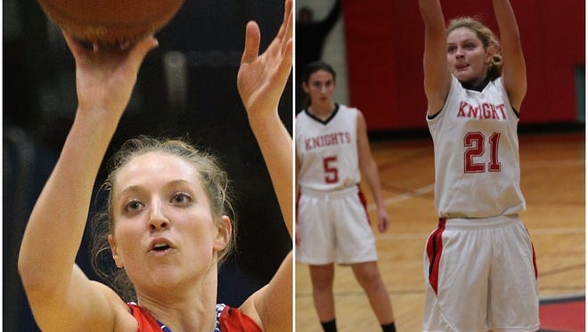 Fairport forward Caroline White, left, and Northstar Christian guard Annabelle Hinds are two of the six finalists for New York State Miss Basketball. The winner of the seniors-only award will be announced next month.