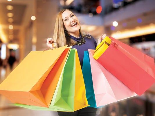 happy female shopping mall