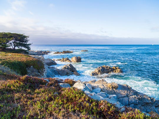 Seascape of Monterey Bay at Sunset in Pacific Grove, California.