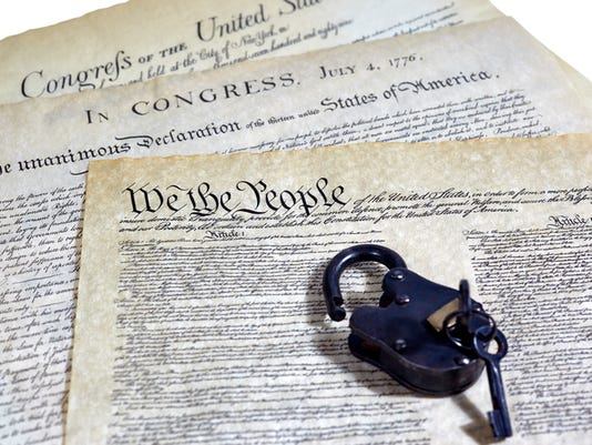 US Constitution Historical Documents with Open Padlock
