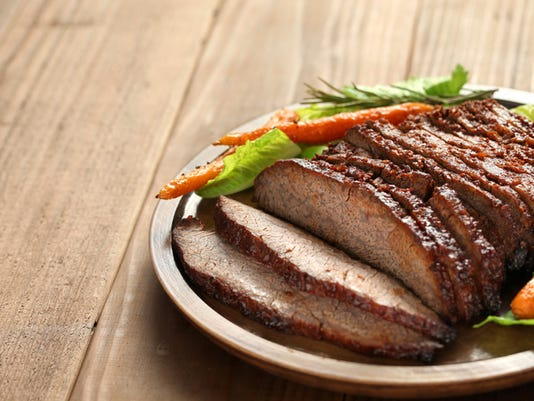 barbecue beef brisket with copy space