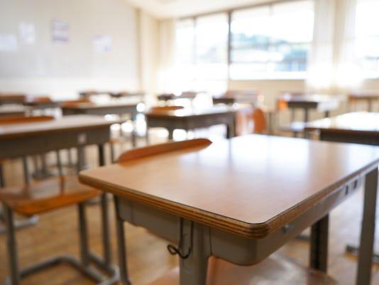 School classroom with blackboard