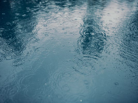 Water surface during rain.