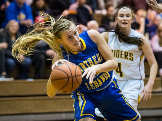 Northern Lebanon's Megan Brandt comes down with a rebound