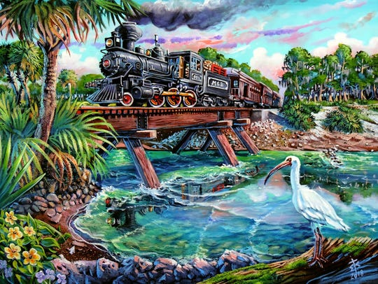 "Eric Sapronetti's painting ""Train to Blountstown"" is"