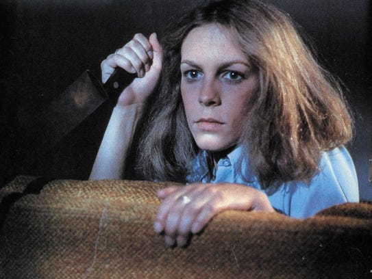 "Jamie Lee Curtis prepares to defend herself in ""Halloween."""