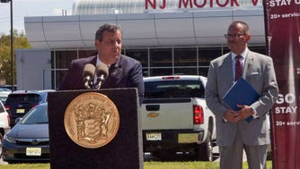 Gov. Chris Christie speaks at a press conference with Raymond P. Martinez, Chairman and Chief Administrator of the MVC, right at the New Jersey Motor Vehicle Commission complex in Randolph, NJ on August 24, 2016.